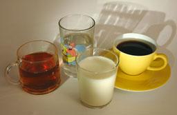 Thee koffie melk water
